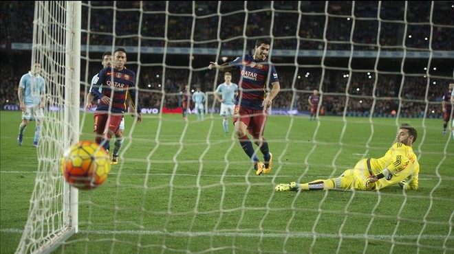 El penalti transformado por Luis Su�rez.