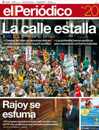 """""""La calle estalla"""", en la portada de EL PERIÓDICO"""