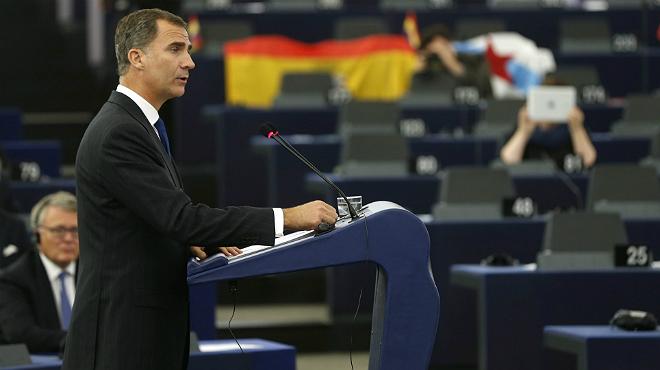 El rey Felipe VI visita el Parlamento europeo y defiende la unidad de Espa�a y una Europa fuerte y solidaria.
