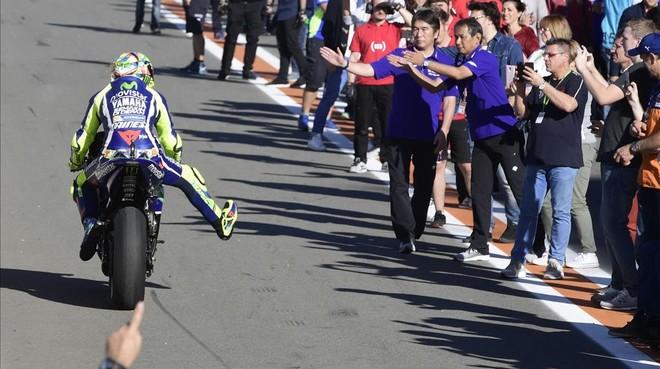 Valentino Rossi, al final de la carrera de Cheste.