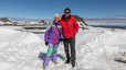 Pepita Castellví y Albert Solé, sobre el hielo de la Antártida.