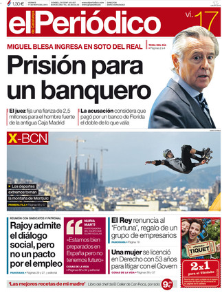 &#34;Prisin para un banquero&#34;, en la portada de EL PERIDICO DE CATALUNYA