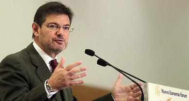 El ministro de Justicia, en Barcelona, esta ma�ana.