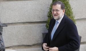 El presidente en funciones, Mariano Rajoy, a su llegada este miércoles al Congreso.