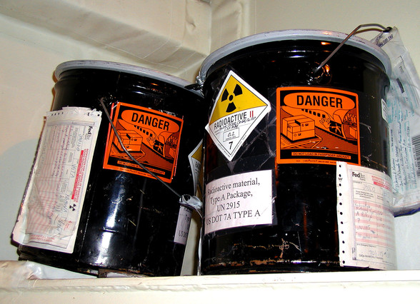 radioactive hazmat labels on navy containers