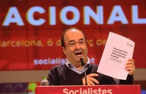 Miquel Iceta, en el Consell Nacional del PSC, este domingo