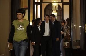 Anna Gabriel y Arnaldo Otegi en el Parlament