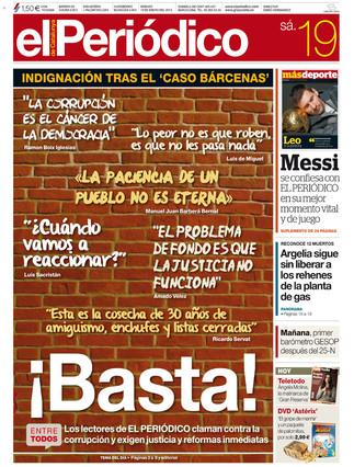 """""""¡Basta!"""", indignación tras el 'caso Bárcenas' en la portada de EL PERIÓDICO"""