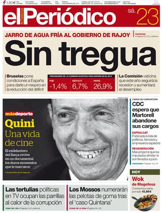 """""""Sin tregua"""", en la portada de EL PERIÓDICO DE CATALUNYA"""