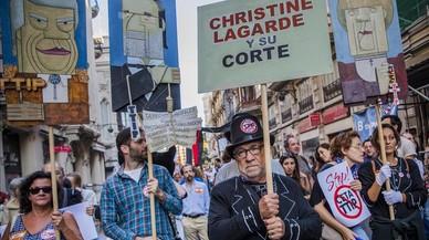 Protesta a València contra el TTIP,el tractat de lliure comerç entre la UE i els Estats Units.
