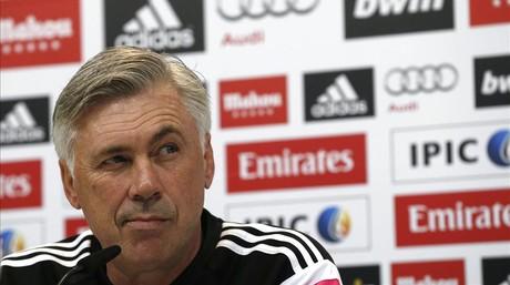 Carlo Ancelotti, en la sala de prensa de Valdebebas.