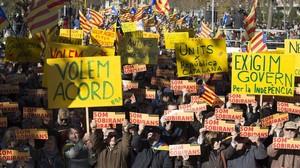 Manifestación de la ANC para reclamar un acuerdo entre Junts pel Sí y la CUP, el pasado 22 de noviembre en el Parc de la Ciutadella de Barcelona.