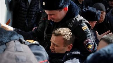 Alexei Navalny, en el momento de ser arrestado.