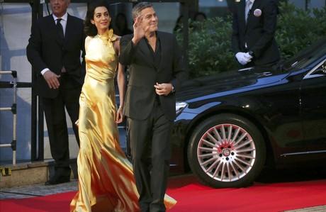 George Clooney y su esposa Amal Clooney,en la presentaci�n de 'Tomorrowland', el pasado 25 de mayo en Jap�n.