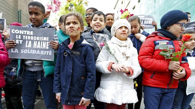 Manifestació contra el terror i l'odi a Brussel·les