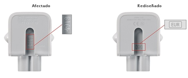 A la izquierda, el adaptador a la corriente de Apple afectado. A la derecha, el que no lo est�.