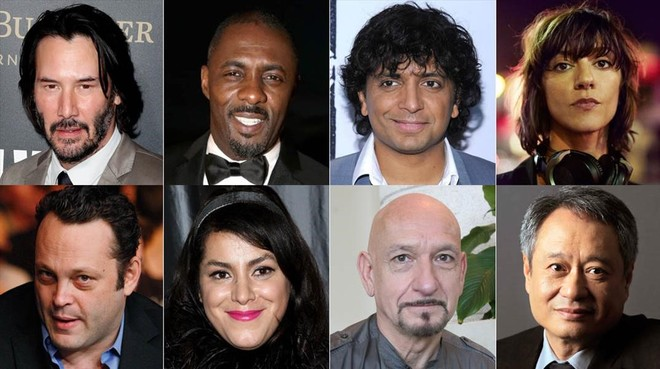 De izquierda a derecha. Keanu Reeves, Idris Elba, M. Night Shyamalan, Ana Lily Amirpour, Vincent Vaughn, Mira Nair, Ben Kingsley y Ang Lee.