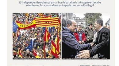 """La """"rebel·lió"""" a Catalunya, el desafiament més important de la democràcia espanyola, preocupa els diaris de Madrid"""