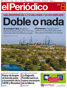 Portada de EL PERIDICO del 8 de septiembre.