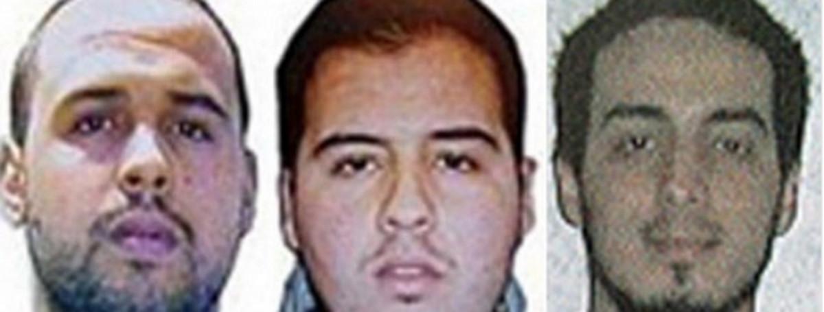 A la derecha, Najim Laachraoui. A la izquierda, los hermanos Khalid y Brahim.