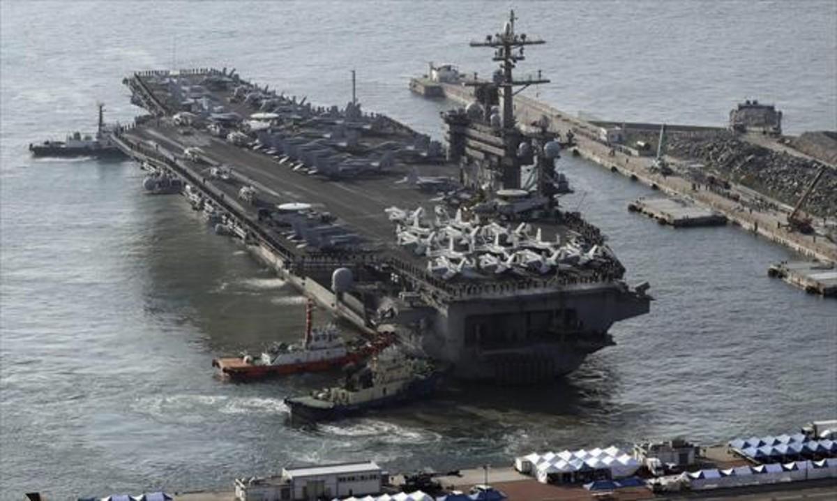 El portaviones nuclear Carl Vinson, en las pasadas maniobras militares de marzo en Corea del Sur.