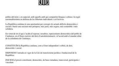La declaració d'independència de Catalunya de Junts pel Sí i la CUP