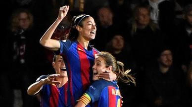 Leila Ouahabi celebra el gol que marcó en Suecia para dar el triunfo al Barça en la ida de los cuartos de la Champions (0-1).
