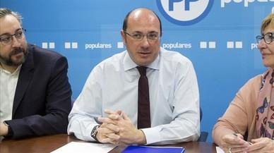 El presidente de Murcia, Pedro Antonio Sánchez, en una reunión de la ejecutiva autonómica del PP.