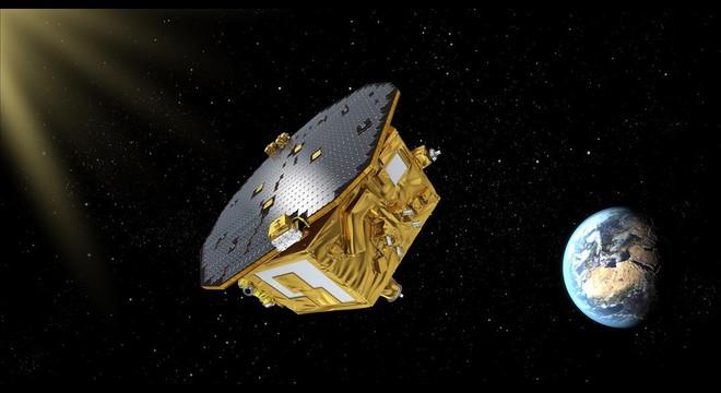 Representaci�n gr�fica de LISA Pathfinder en funcionamiento, en un punto del espacio entre la Tierra y el Sol.