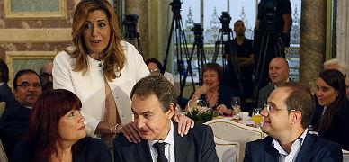 Susana D�az, con Micaela Navarro, Jos� Luis Rodr�guez Zapatero y C�sar Luena, este mi�rcoles en Sevilla.