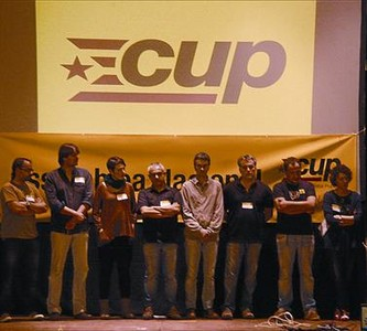 Dirigentes y candidatos de las prximas elecciones de las CUP, en Molins de Rei.