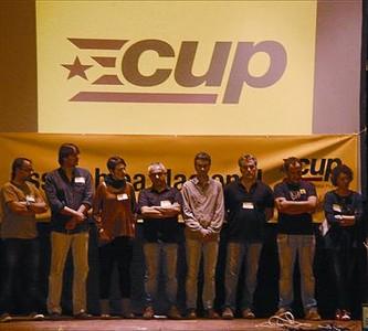 Dirigentes y candidatos de las próximas elecciones de las CUP, en Molins de Rei.