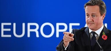 David Cameron, durante su rueda de prensa en Bruselas.
