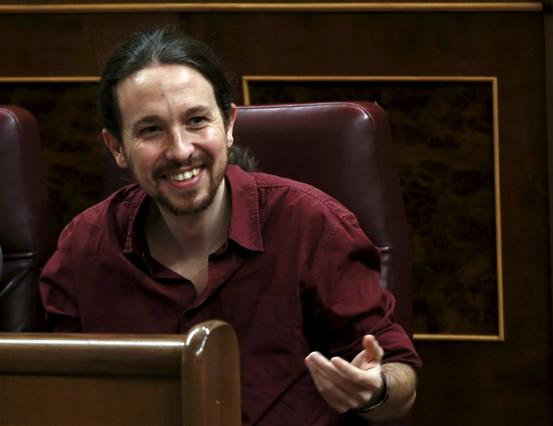 Pablo Iglesias, en el Congreso de los Diputados el viernes, durante la segunda jornada de la investidura de Pedro Sánchez