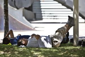 Dos hombres descansan bajo un árbol en plena ola de calor, en Barcelona.