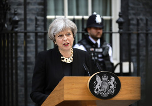 Britains Prime Minister Theresa May speaks outside 10 Downing Street after an attack on London Bridge and Borough Market left 7 people dead and dozens injured in London