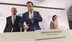 Gonzalo Cortázar en la presentación de resultados de Caixabank en Valencia