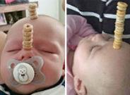 Beb�s con torres de cereales encima