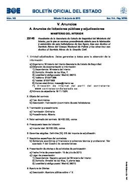 Interior gastar 32 millones en 6 helic pteros for Boe ministerio del interior