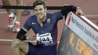 Óscar Husillos, el pasado domingo, cuando ganó los 400 metros con récord de España en Salamanca.