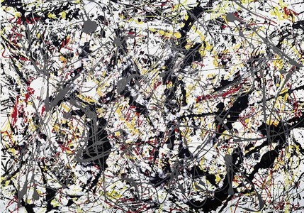 'Silver over black, white, yellow and red', una obra de Pollock de 1948.