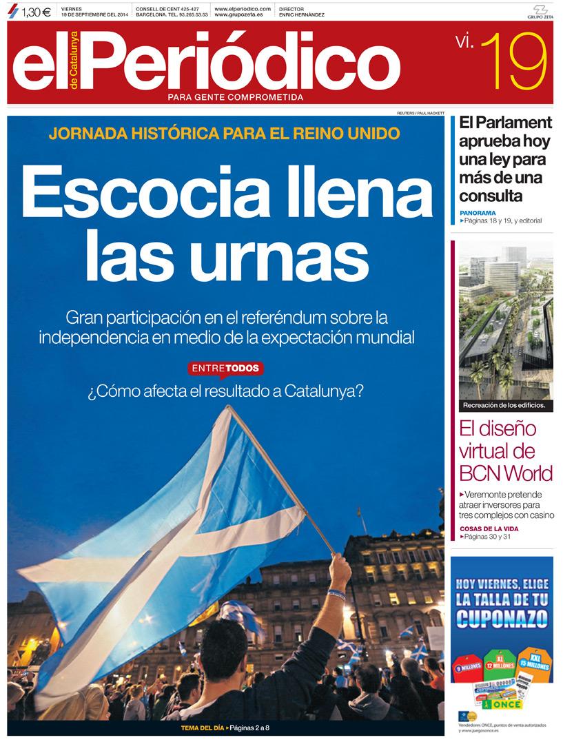 'Escocia llena las urnas', en la portada de EL PERI�DICO DE CATALUNYA
