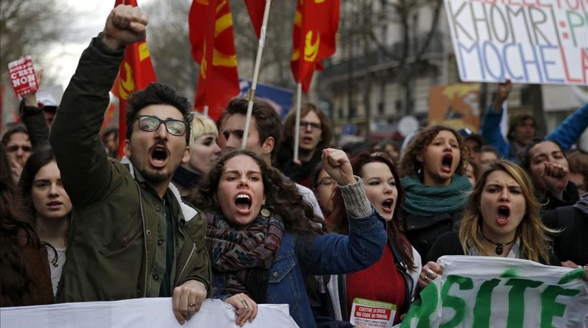 Protesta contra el proyecto de ley de reforma laboral en Francia.
