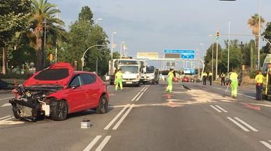 Set ferits en un aparatós accident a la Diagonal