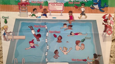 Poster con consejos de seguridad en las piscinas realizado por la Cruz Roja americana.