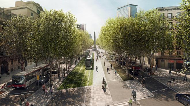 El proyecto ganador. El tráfico irá por los carriles laterales y la bici y los peatones pasan por el centro junto al tranvía.