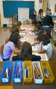 Una aula de primària d'una escola barcelonina.