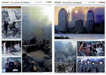 Pàgina doble visual del Tema del Dia dels atemptats de l'11-S, el 2001.