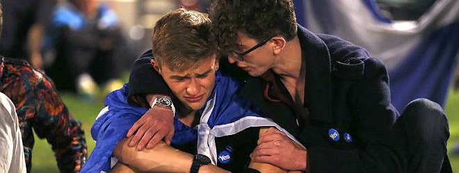 Abatimiento de los partidarios de la secesi�n, ayer en Glasgow.