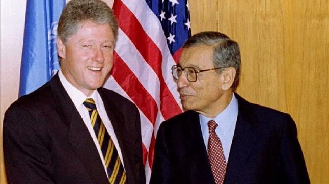 Butros-Ghali y el presidente de EEUU Bill Clinton, en 1996.